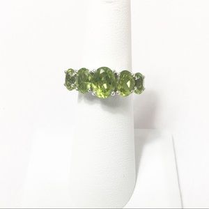 Peridot 5 Stone Split Ring